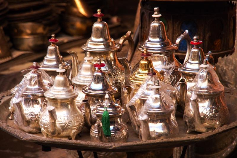 El Souks en Marrakesh, Marruecos, El mercado tradicional más grande de África imagen de archivo libre de regalías