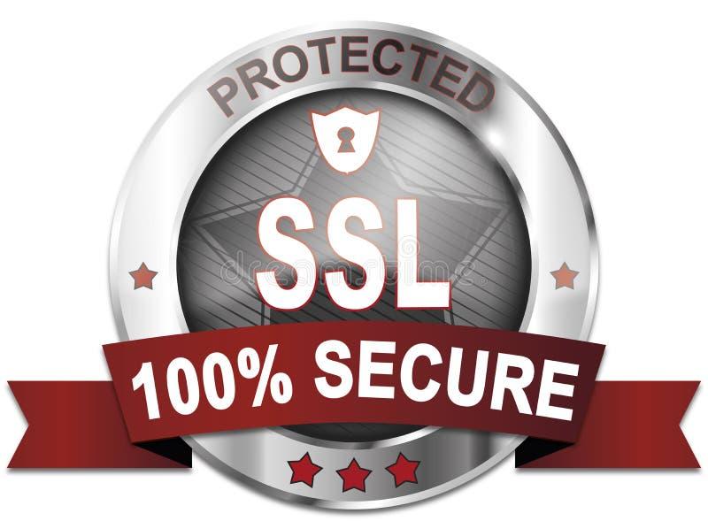 El SSL protegió el 100% asegura el botón ilustración del vector