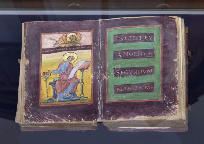 El Strahov Evangeliary, Strahov Libray, Praga, República Checa foto de archivo libre de regalías