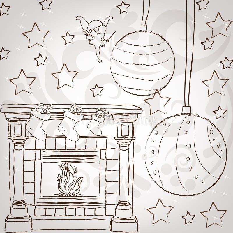 El Stylization Del Bosquejo Casa Greetin De La Vendimia De La Navidad Fotografía de archivo libre de regalías