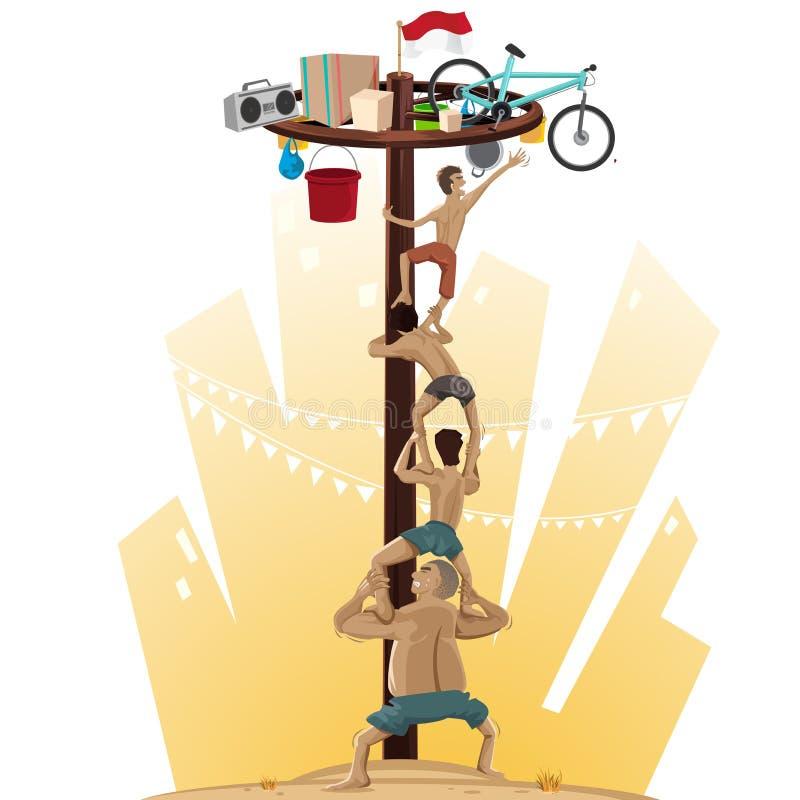 El subir de Panjat Pinang poste stock de ilustración