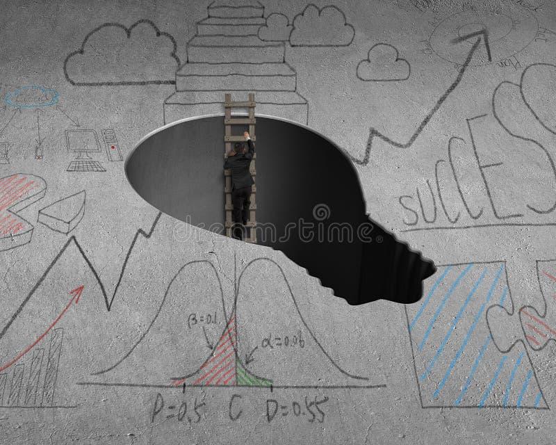 El subir hacia fuera del agujero de la forma de la lámpara libre illustration