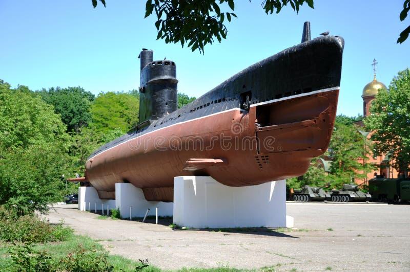 El ` submarino M-296 de Malyutka del ` Museo conmemorativo de 411 baterías de artillería costera y de marina de guerra de la ciud imagenes de archivo