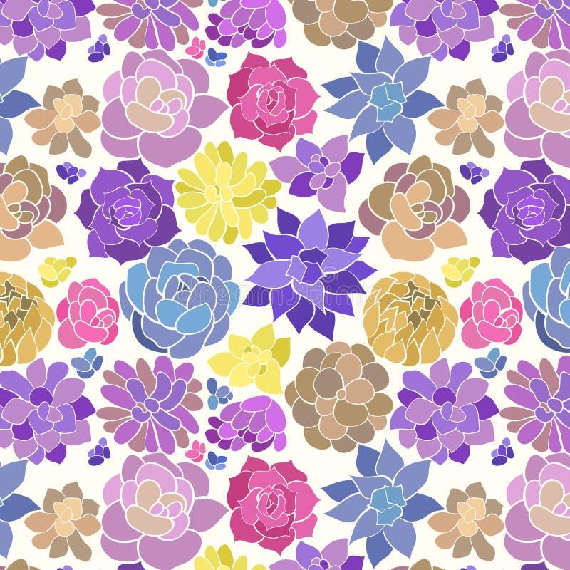 El succulent dibujado mano colorida siluetea el modelo inconsútil del vector en sombras azules y amarillas púrpuras en un fondo b stock de ilustración