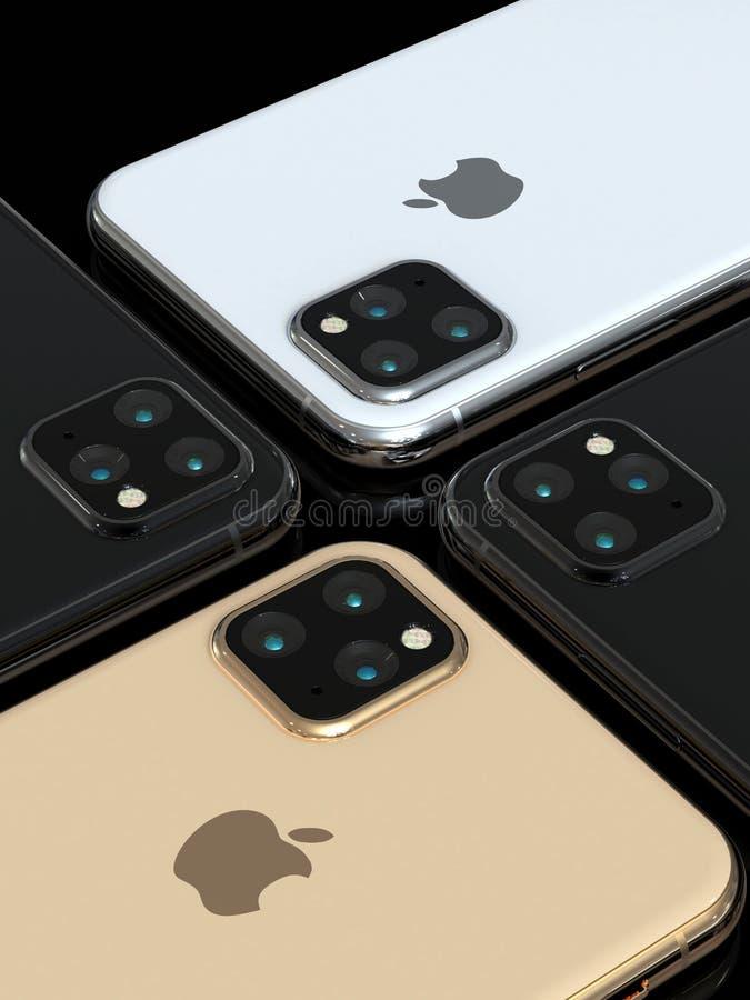 El sucesor de Xs del iPhone de Apple, 2019, se escap? la simulaci?n del dise?o imagen de archivo