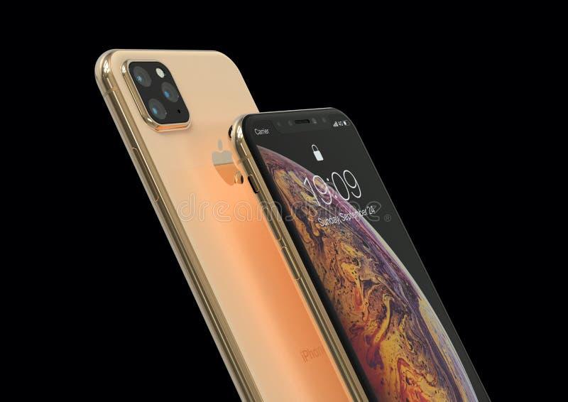 El sucesor de Xs del iPhone de Apple, 2019, se escap? la simulaci?n del dise?o fotografía de archivo