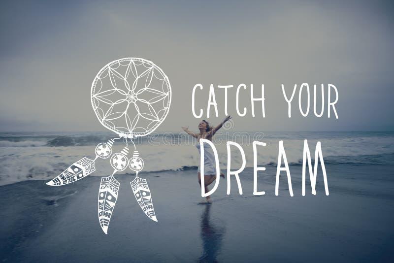 El sueño de la captura cree concepto de la motivación de la aspiración foto de archivo