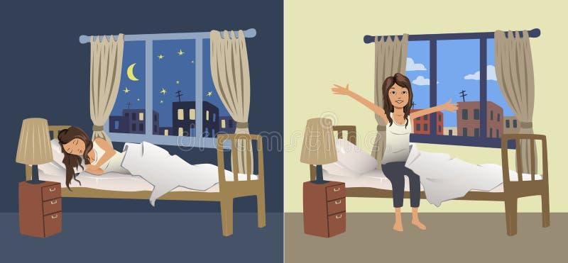 El sueño de la mujer joven en la noche en el dormitorio y despierta por la mañana Ilustración del vector stock de ilustración