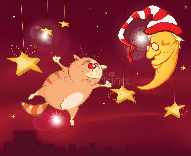 El sueño de una noche de verano un gato lindo Personaje de dibujos animados ilustración del vector