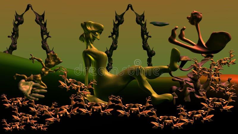 El sueño en verde ilustración del vector