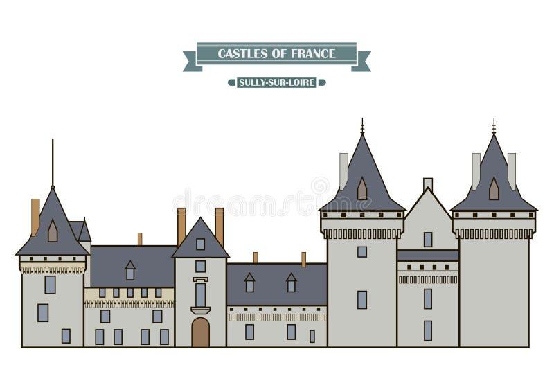El Sully-sur-Loira, Francia stock de ilustración