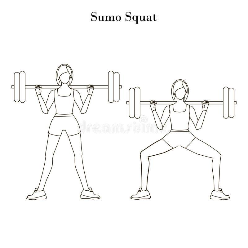El sumo se pone en cuclillas el esquema del ejercicio libre illustration