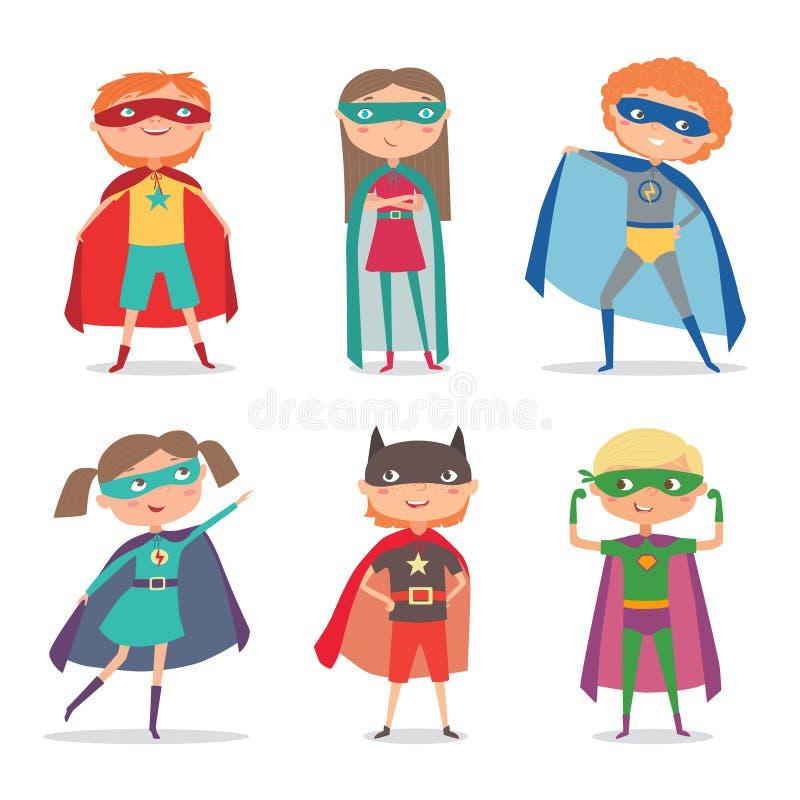 El super héroe embroma muchachos y a muchachas Ilustración del vector de la historieta ilustración del vector