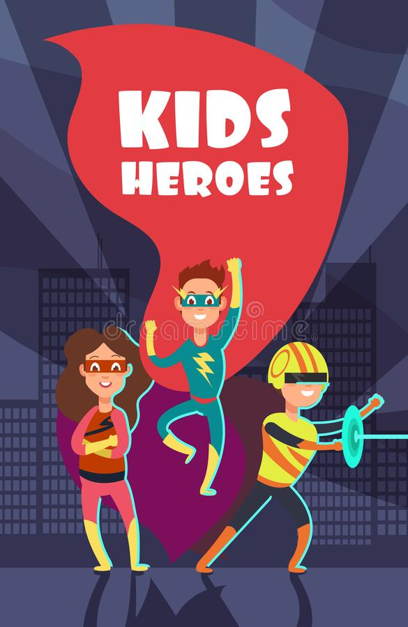 El super héroe valiente embroma el cartel del vector de la historieta libre illustration