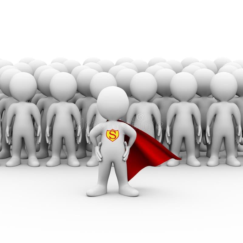 el superhéroe 3d un impermeable y una gente agrupa stock de ilustración