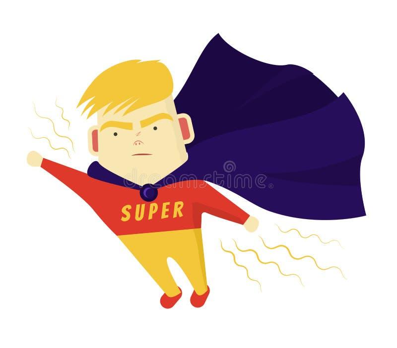 El superhéroe lindo de los Blondes del muchacho mueve útil la blanco Él vuela su mano adelante libre illustration