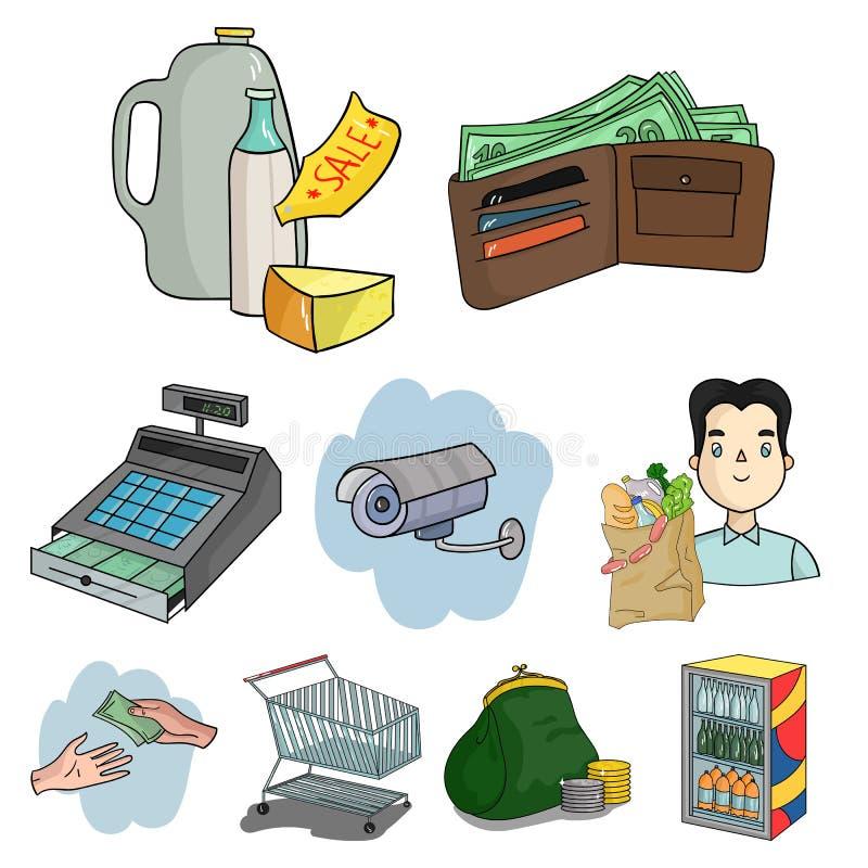 el supermercado relacionó el sistema del icono ilustración del vector