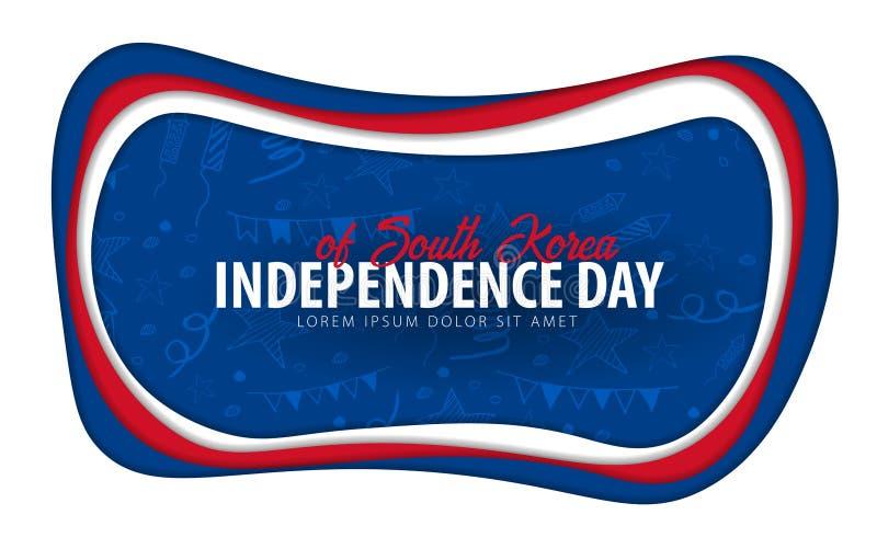 EL SUR COREA Tarjeta de felicitación del Día de la Independencia estilo del corte del papel libre illustration