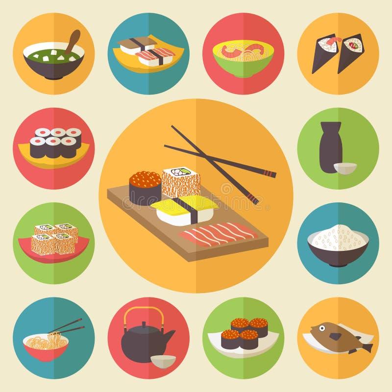 El sushi, cocina japonesa, iconos de la comida fijó, plano ilustración del vector