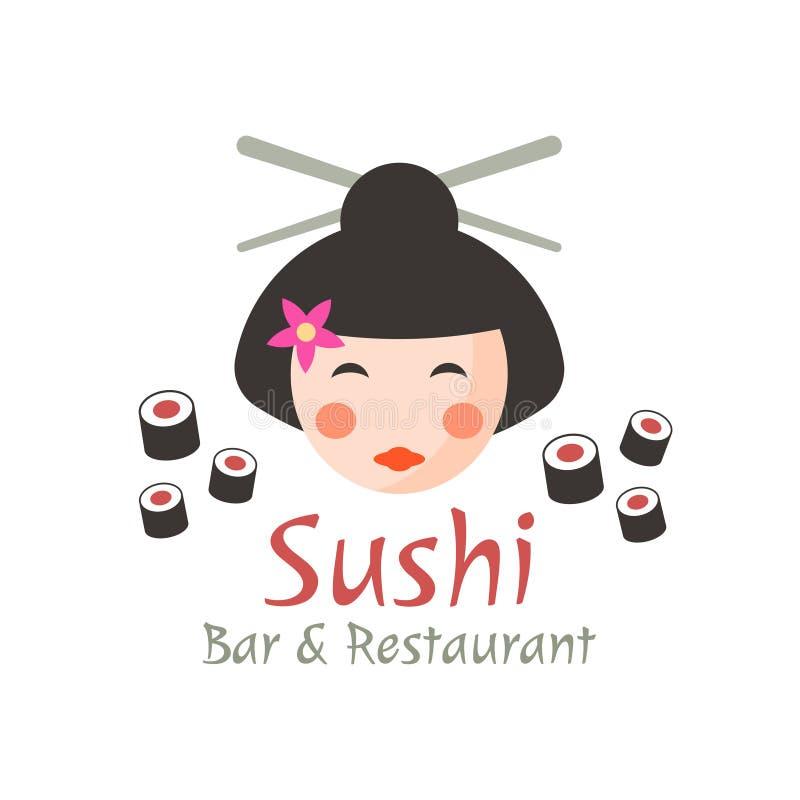 El sushi, geisha aisló concepto del logotipo del vector stock de ilustración