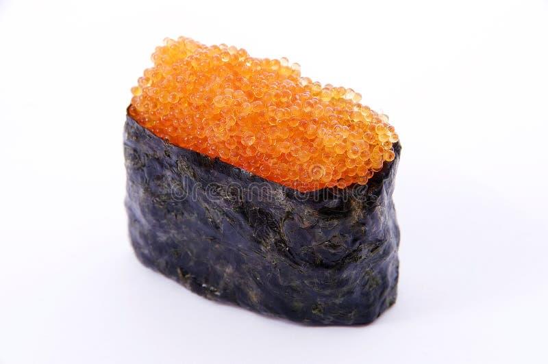 El sussi con el caviar de los pescados de vuelo imagen de archivo