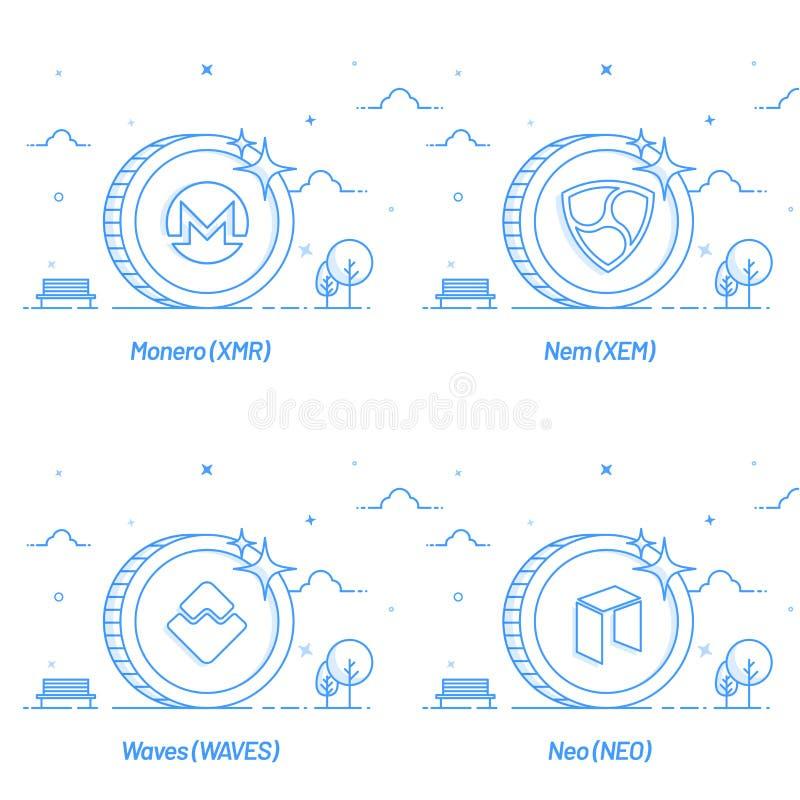 El sytle plano del cryptocurrency acuña como Monero, Nem, las ondas, y stock de ilustración