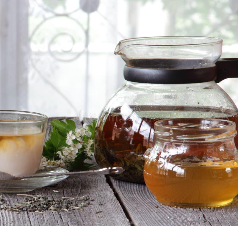 El té con leche en una taza transparente sometió con la miel imágenes de archivo libres de regalías