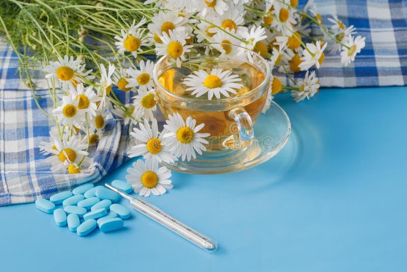 El té de manzanilla en una taza y una manzanilla transparentes florece en la tabla fotografía de archivo