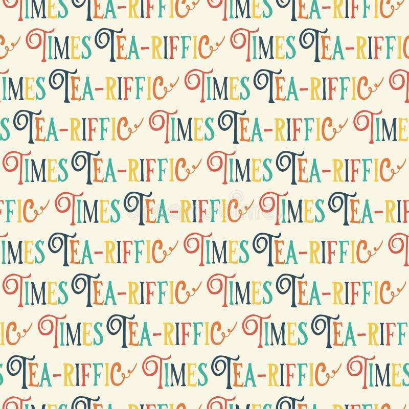 El té-riffic mide el tiempo de las letras del retruécano Letras del tiempo del té de la diversión E Frase divertida dibujada mano stock de ilustración