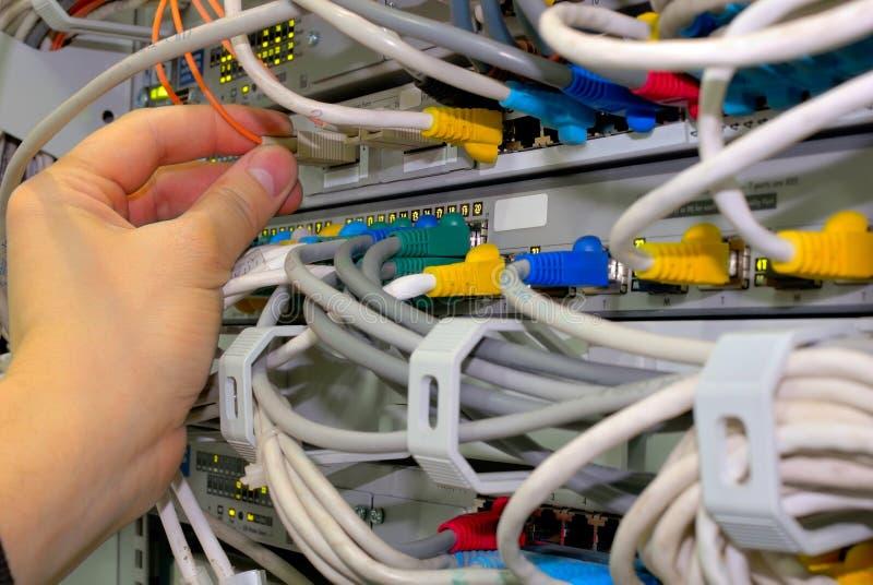 El técnico controla conexiones de red