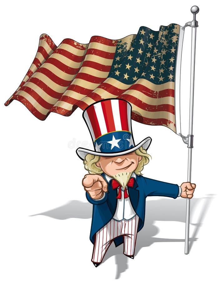 El tío Sam I le quiere - bandera de los E.E.U.U. WWI-WWII (estrella 48) ilustración del vector