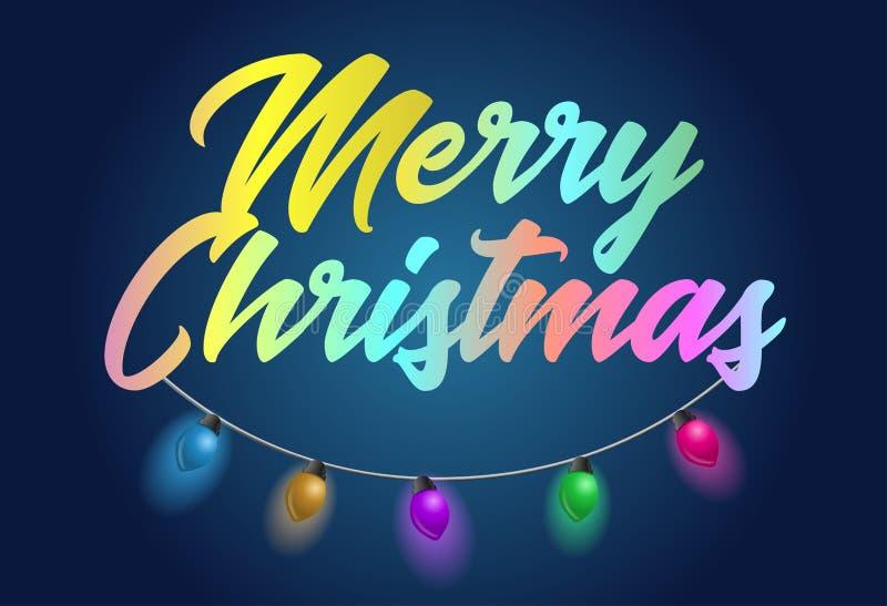 El título de texto colorido del día de fiesta de la Feliz Navidad con la guirnalda hermosa se enciende libre illustration