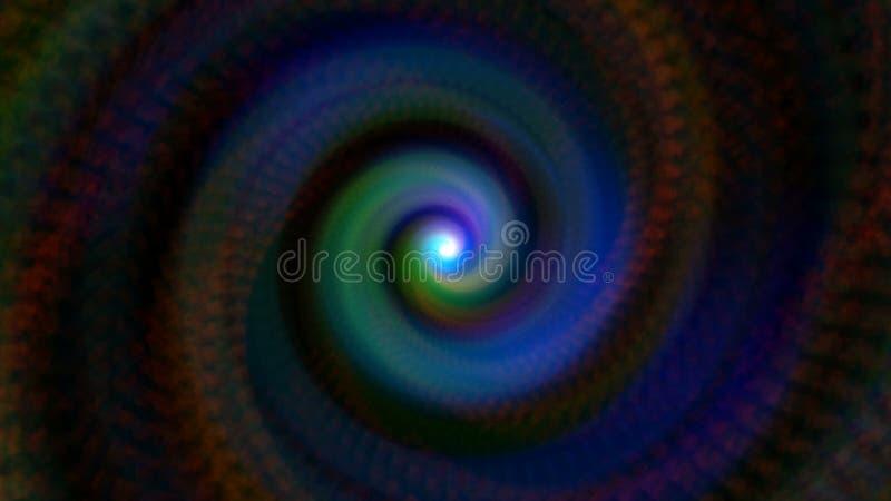El túnel abstracto del remolino en el espacio negro, fondo generado por ordenador, 3D rinde el fondo stock de ilustración