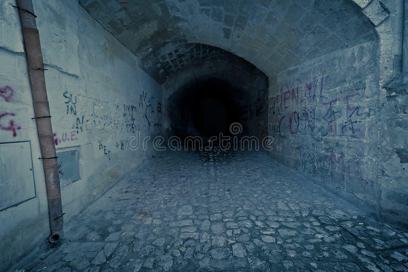 El túnel espeluznante y claustrofóbico oscuro abandonado, con escribe en la pared de ladrillo imágenes de archivo libres de regalías