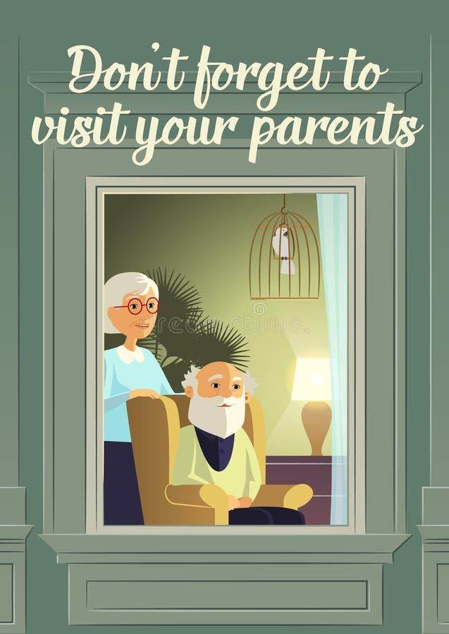 El ` t de Don olvida visitar a sus padres Soledad de los ancianos Los padres maduros esperan a niños del heredero para visitar ilustración del vector