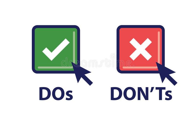 El ` t haga y de Don o los buenos y malos iconos con Sy positivo y negativo stock de ilustración