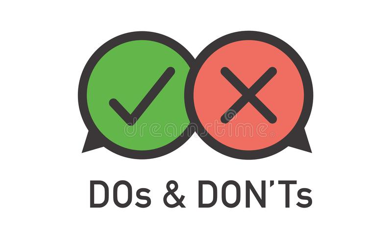 El ` t haga y de Don o los buenos y malos iconos con Sy positivo y negativo libre illustration