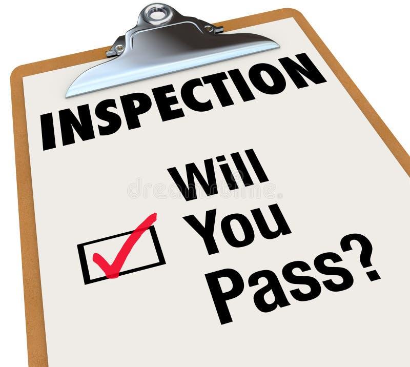 El tablero de la lista de control de la inspección usted las palabras de paso libre illustration