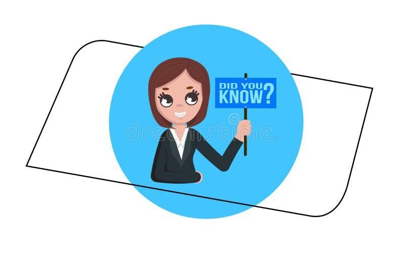 El tablero de la muestra de la demostración de la mujer, concepto del negocio con el texto usted sabía, ejemplo del vector ilustración del vector