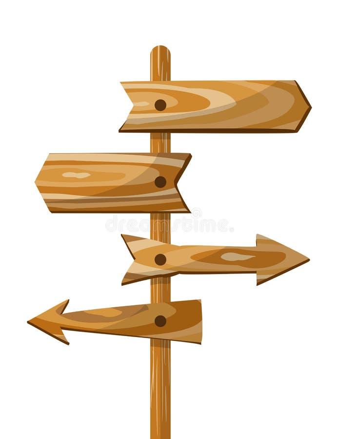 El tablero de madera de la flecha direccional de la dirección del poste indicador de la manera de madera del vector firma libre illustration