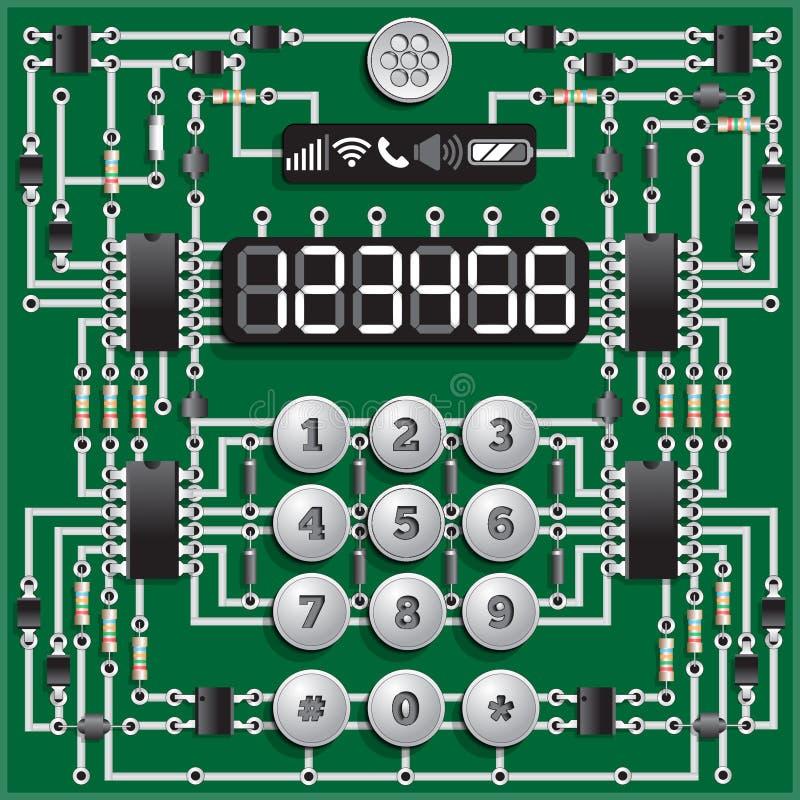 El tablero electrónico bajo la forma de teléfono stock de ilustración
