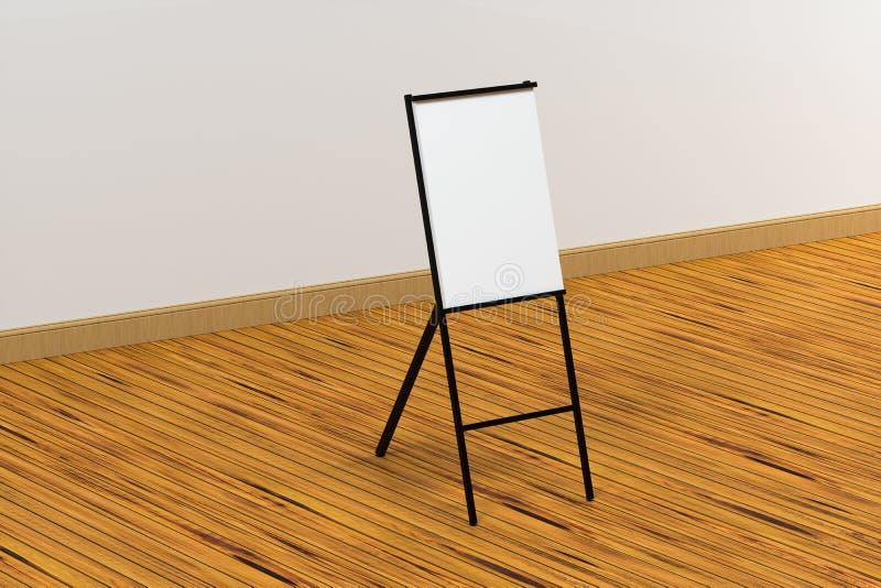 El tablero en blanco del caballete con el fondo de madera del piso, representación 3d ilustración del vector