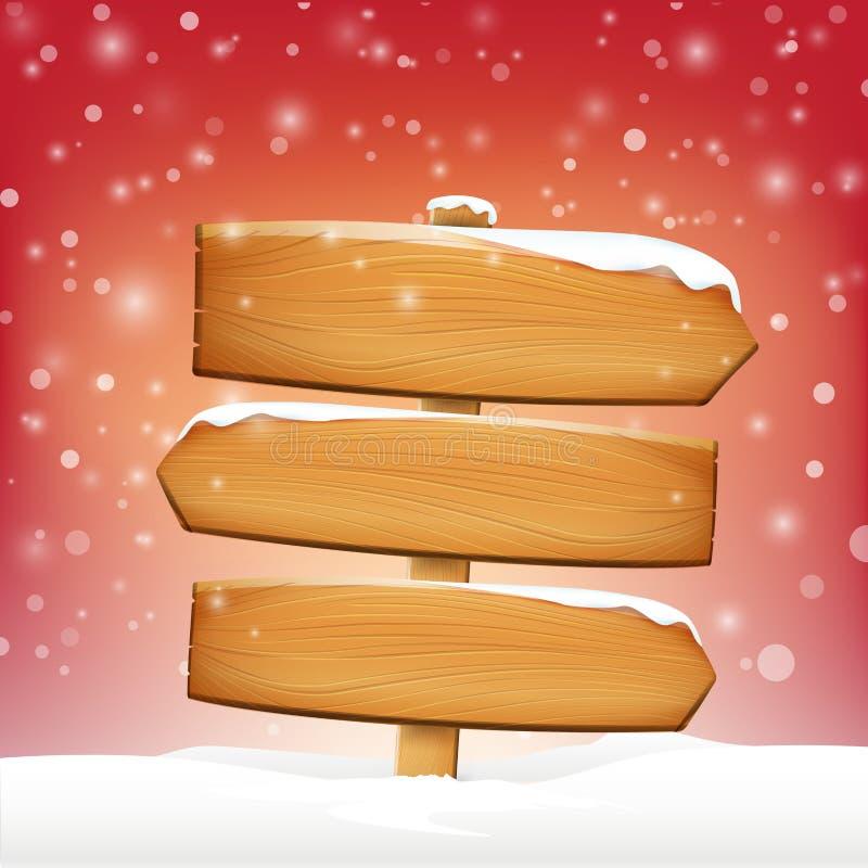 El tablero y el invierno de madera del espacio en blanco de la muestra nievan con el espacio de la copia stock de ilustración
