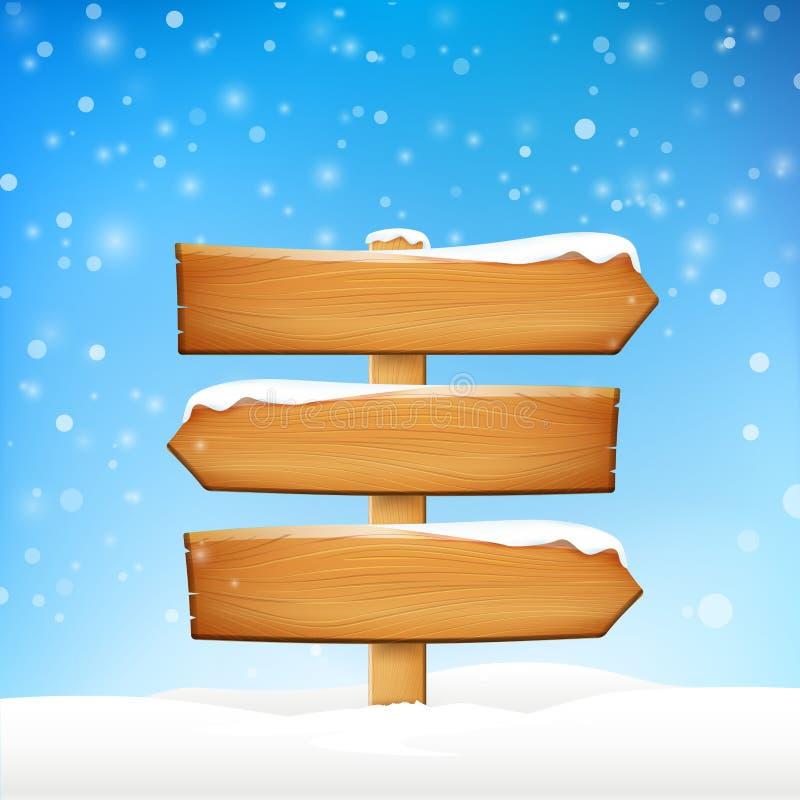 El tablero y el invierno de madera del espacio en blanco de la muestra nievan con el vector de espacio de la copia i stock de ilustración
