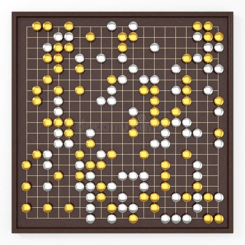 El tablero y el weiqi goban asiáticos tradicionales van juego variante de lujo ilustración 3D ilustración del vector