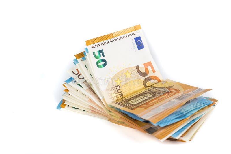 El taco del efectivo euro carga en cuenta billetes de banco foto de archivo