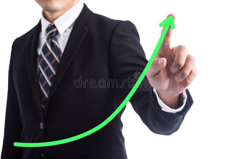 El tacto del hombre de negocios crece la flecha fotos de archivo