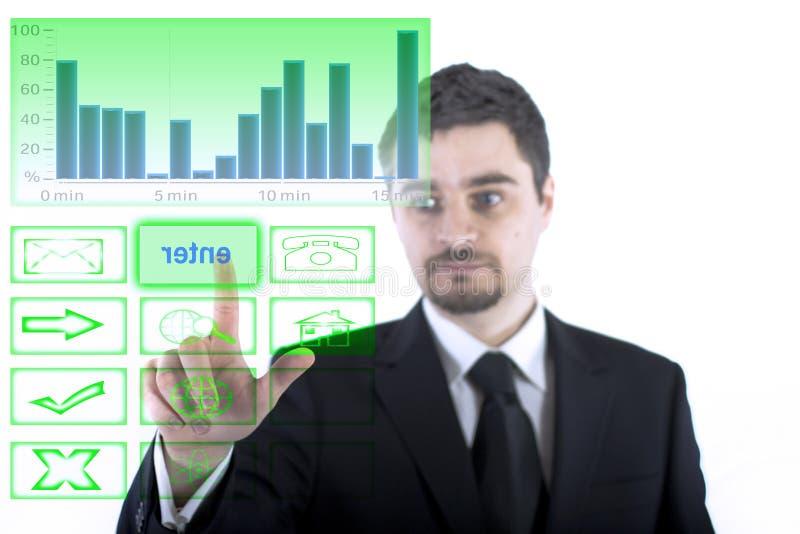 El tacto del hombre de negocios incorpora la muestra imagenes de archivo