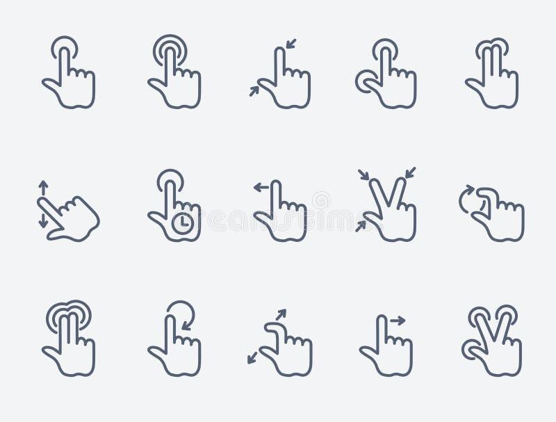 El tacto gesticula iconos ilustración del vector