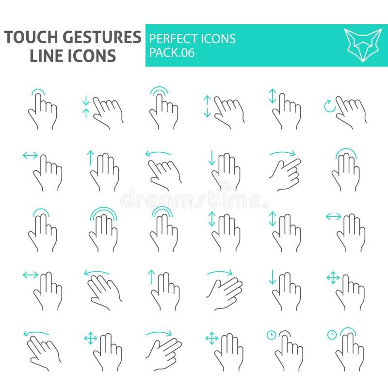 El tacto gesticula la línea fina sistema del icono, símbolos colección, bosquejos del vector, ejemplos del logotipo, muestras del libre illustration